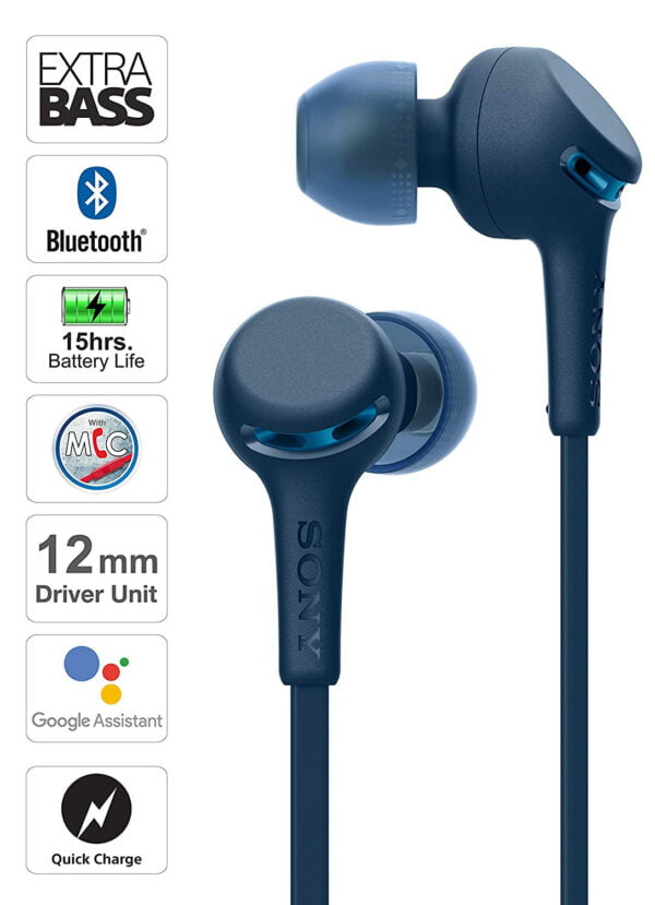 Sony WI-XB400 Wireless in-Ear Extra Bass Headphones with Neck-Band Design - Blue(100% Untouched,New with Warranty) (Packing Damage Only)-8771