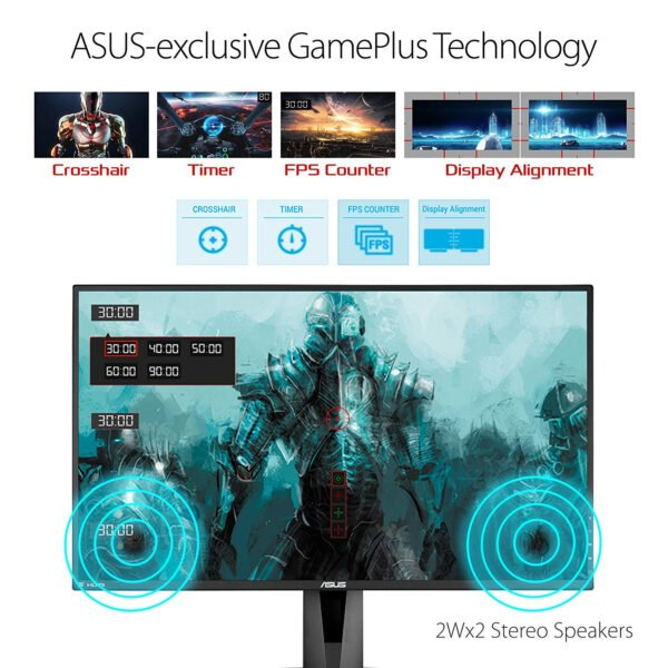 """ASUS VG278QR, 27"""" Full HD (1920x1080) Nvidia G-SYNC Compatible Esports Gaming Monitor, 0.5ms, Up to 165 Hz, DP, HDMI, DVI, FreeSync, Low Blue Light, Flicker Free, TUV Certified-9306"""