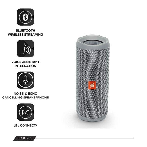 JBL Flip 4 Portable Wireless Speaker with Powerful Bass & Mic (Gray)-9193