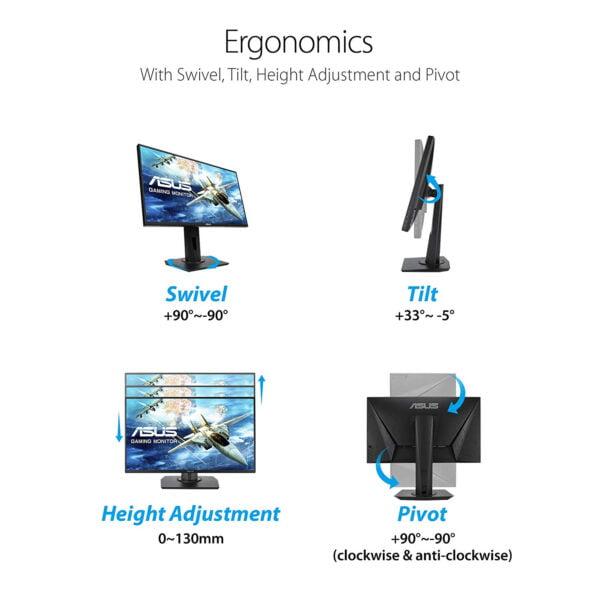 "ASUS VG258QR, 24.5"" Full HD (1920x1080), Nvidia G-SYNC Compatible Esports Gaming Monitor, 0.5ms, Up to 165 Hz, DP, HDMI, DVI-D, Super Narrow Bezel, FreeSync, Low Blue Light, Flicker Free-9301"
