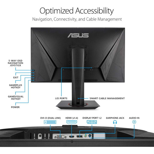 """ASUS VG278QR, 27"""" Full HD (1920x1080) Nvidia G-SYNC Compatible Esports Gaming Monitor, 0.5ms, Up to 165 Hz, DP, HDMI, DVI, FreeSync, Low Blue Light, Flicker Free, TUV Certified-9308"""