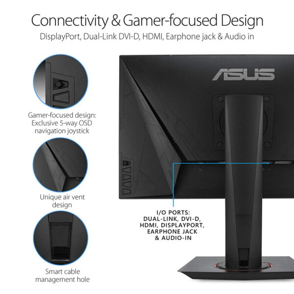 "ASUS VG258QR, 24.5"" Full HD (1920x1080), Nvidia G-SYNC Compatible Esports Gaming Monitor, 0.5ms, Up to 165 Hz, DP, HDMI, DVI-D, Super Narrow Bezel, FreeSync, Low Blue Light, Flicker Free-9303"