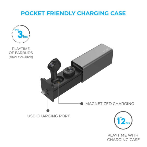 Noise Shots Sport True Wireless In-Ear Earbuds/Earphones (Bluetooth V5.0) with Magnetic Charging Case (450mAh), Voice Assistant/Siri with In-Built Mic, Rated IPX4, Compatible with Android & Ios (Black)-9479