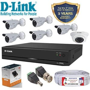 D-Link 8 Channel CCTV KIT 2MP 5 PCS Bullet and 1 Dome with All Accessories-0