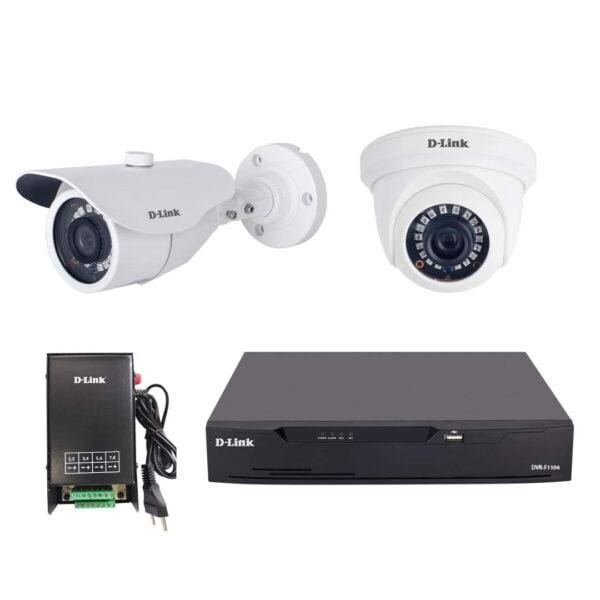 D-Link 2MP HD CCTV Kit with 2MP Dome Camera + 2MP Bullet Camera + 4Ch DVR + 4CH Amp SMPS-9645