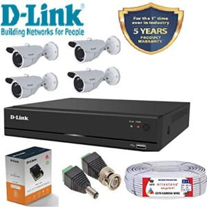 D-Link 4 Channel CCTV KIT 2MP 4Pcs Bullet with All Accessories-0