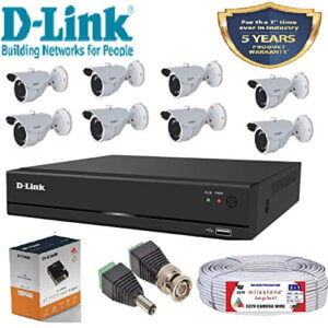 D-Link 8 Channel CCTV KIT 2MP 8 Pcs Bullet Camera with All Accessories-0