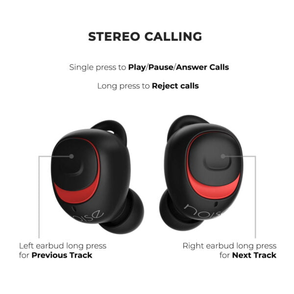 Noise Shots X5 Charge Truly Wireless Bluetooth Earbuds Earphones with Charging Case (Hot Black)-9469