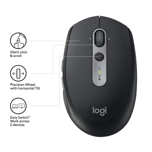 Logitech M590 Silent Wireless Mouse (Multi-Device Silent Bluetooth Mouse for Windows, Mac & Android Devices) - Black Graphite-9382