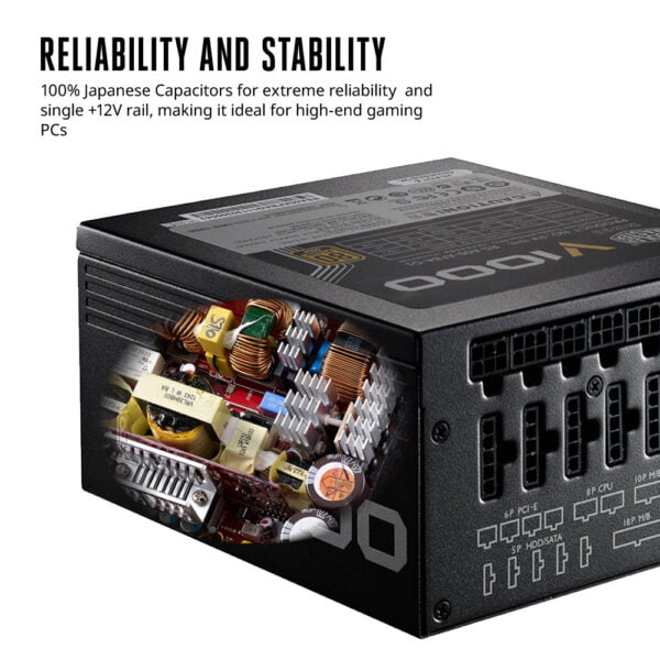 Cooler Master V1000, Full Modular 80+ Gold Certified 1000W Power Supply, 10 Year Warranty-9607