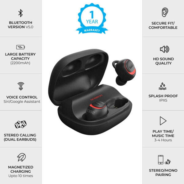 Noise Shots X5 Charge Truly Wireless Bluetooth Earbuds Earphones with Charging Case (Hot Black)-9470