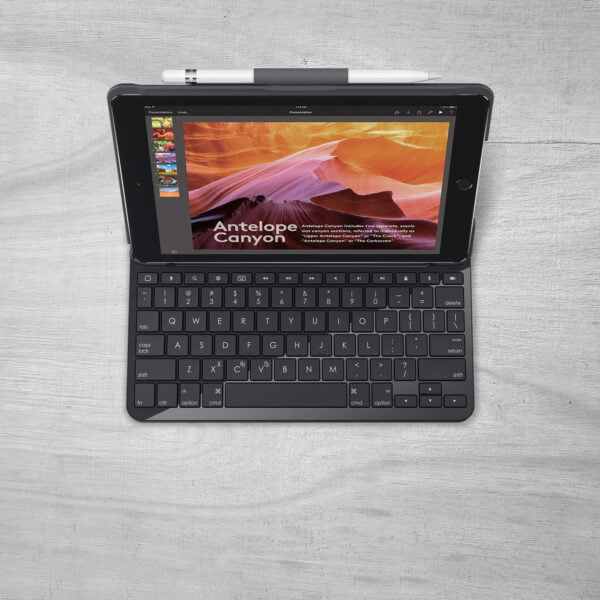 Logitech Slim Folio Integrated Keyboard Case with Bluetooth for iPad 5th Generation (Model: A1822, A1823) and iPad 6th Generation (Model: A1893, A1954)-9572