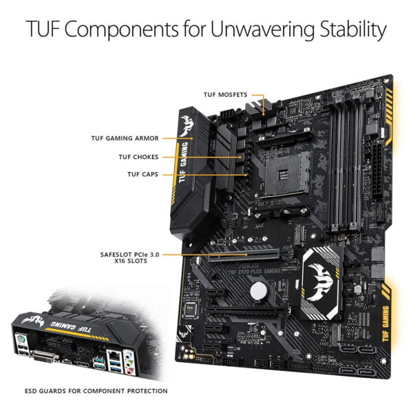 Asus AMD X470 ATX gaming motherboard with Aura Sync RGB LED lighting, DDR4 3200MHz support, 32Gbps M.2, and native USB 3.1 Gen 2.-9419