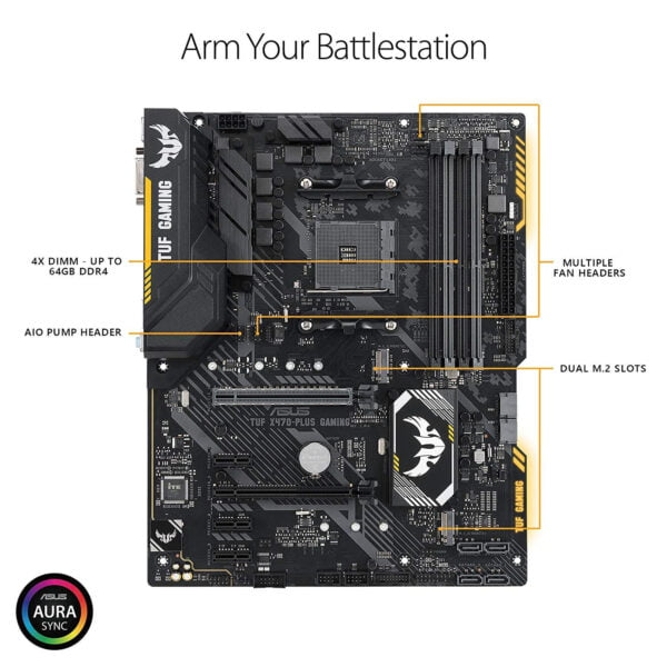 Asus AMD X470 ATX gaming motherboard with Aura Sync RGB LED lighting, DDR4 3200MHz support, 32Gbps M.2, and native USB 3.1 Gen 2.-9421
