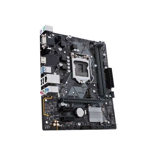 Asus Intel H310M-E 8th and 9th Gen I3, I5 and I7 LGA-1151 mATX motherboard with LED lighting, DDR4 2666MHz / 2400MHz / 2133MHz , M.2 support, HDMI USB 3.1-9432