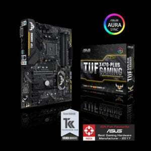 Asus AMD X470 ATX gaming motherboard with Aura Sync RGB LED lighting, DDR4 3200MHz support, 32Gbps M.2, and native USB 3.1 Gen 2.-0