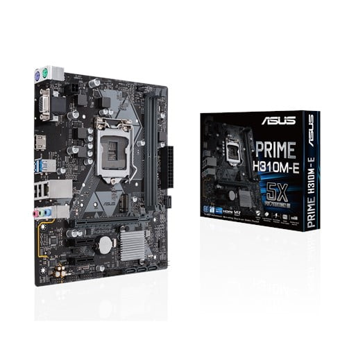 Asus Intel H310M-E 8th and 9th Gen I3, I5 and I7 LGA-1151 mATX motherboard with LED lighting, DDR4 2666MHz / 2400MHz / 2133MHz , M.2 support, HDMI USB 3.1-0