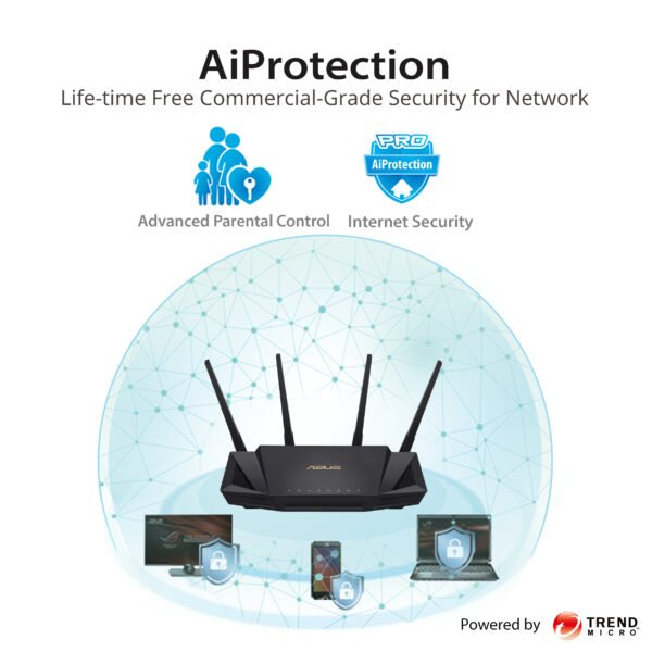 Asus RT-AX3000 AX3000 Dual Band WiFi 6 (802.11ax) Router supporting MU-MIMO and OFDMA technology, with AiProtection Pro network security powered by Trend Micro™, compatible with ASUS AiMesh WiFi system-9817