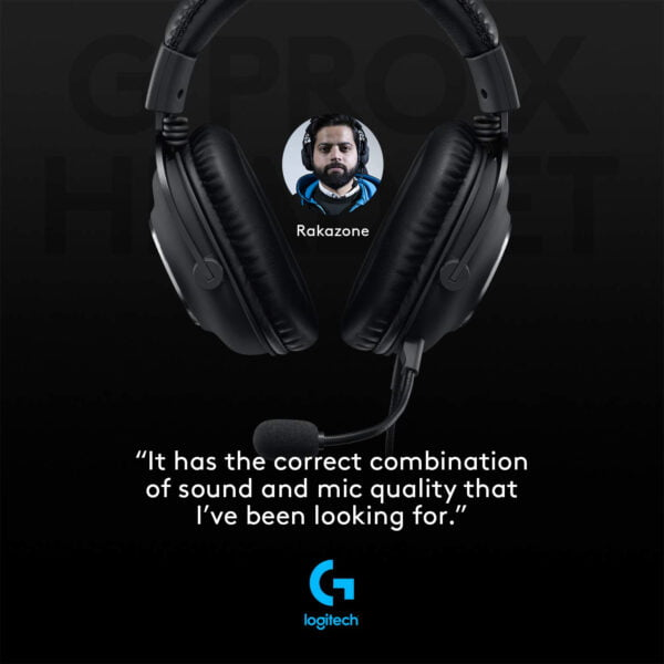 Logitech G PRO X Gaming Headset with Blue VO!CE, DTS Headphone:X 7.1 and 50 mm PRO-G Drivers (for PC, PS4, Switch, Xbox One, VR) - Black-9926