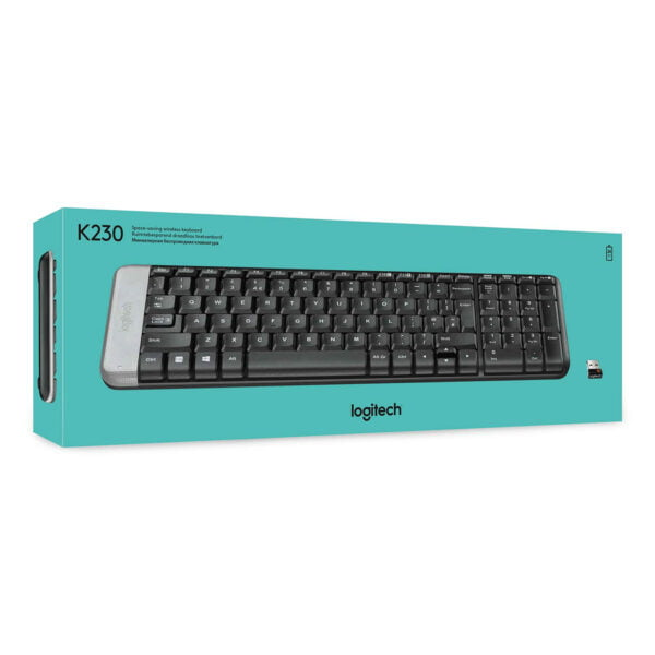 Logitech K230 Compact Wireless Keyboard for Windows, 2.4GHz Wireless with USB Unifying Receiver, Space-Saving Design, 2-Year Battery Life, PC/Laptop- Black-9933