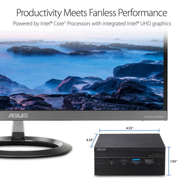 COMBO ASUS PN60 Ultracompact mini PC features Intel® Core™ processors support DDR4 RAM,( i5 -8250U ) dual storage, 4K UHD video output, Wi-Fi and USB 3.1 Gen1 Type-C( with 240GB SSD and 8GB DDR4 2400 RAM)-9955