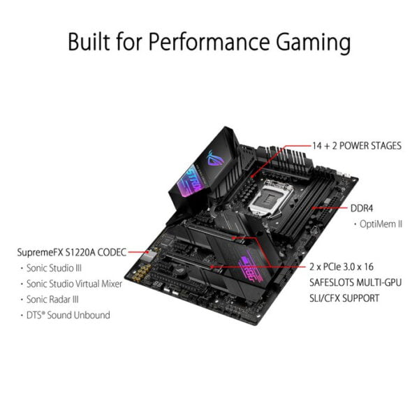 Asus ROG STRIX Z490-E GAMING Intel® Socket 1200 for 10th Gen Intel® Core™, Pentium® Gold and Celeron® Processors Motherboard -9857