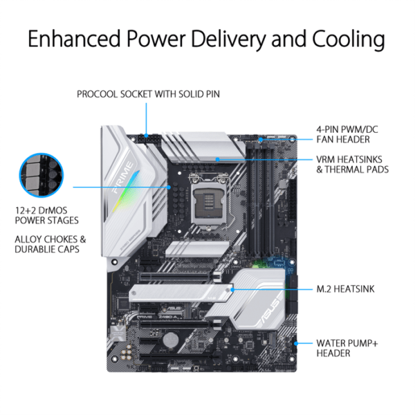 Asus PRIME Z490-A OverviewSpecificationsGallerySupportIntel® Z490 (LGA 1200) ATX motherboard with dual M.2, 14 DrMOS power stages, HDMI, DisplayPort, SATA 6 Gbps, Intel® 2.5Gb Ethernet, USB 3.2 Gen 2 Type-C®, Thunderbolt™ 3 support, and Aura Sync RGB ligh-9842