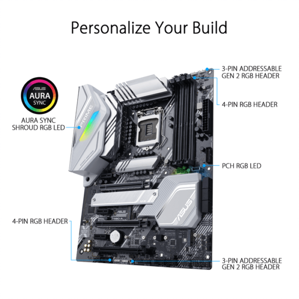 Asus PRIME Z490-A OverviewSpecificationsGallerySupportIntel® Z490 (LGA 1200) ATX motherboard with dual M.2, 14 DrMOS power stages, HDMI, DisplayPort, SATA 6 Gbps, Intel® 2.5Gb Ethernet, USB 3.2 Gen 2 Type-C®, Thunderbolt™ 3 support, and Aura Sync RGB ligh-9841