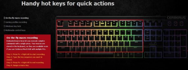 Asus Cerberus Mech RGB mechanical gaming keyboard with RGB backlit effects, 100% anti-ghosting N-key rollover (NKRO), and dedicated hot keys for gaming shortcuts-10048