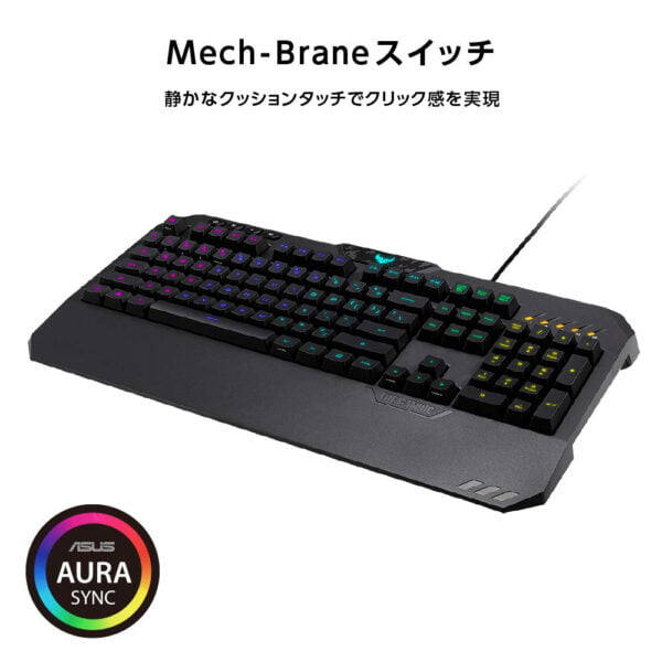 ASUS TUF Gaming K5 RGB Keyboard with Tactile Mech-Brane Key switches, Specialized Coating for Extended Durability, Spill-Resistance and Aura Sync Lighting-10030