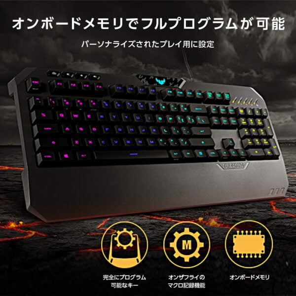 ASUS TUF Gaming K5 RGB Keyboard with Tactile Mech-Brane Key switches, Specialized Coating for Extended Durability, Spill-Resistance and Aura Sync Lighting-10034