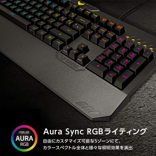 ASUS TUF Gaming K5 RGB Keyboard with Tactile Mech-Brane Key switches, Specialized Coating for Extended Durability, Spill-Resistance and Aura Sync Lighting-10033