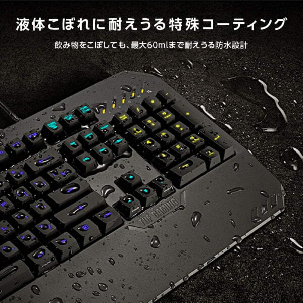 ASUS TUF Gaming K5 RGB Keyboard with Tactile Mech-Brane Key switches, Specialized Coating for Extended Durability, Spill-Resistance and Aura Sync Lighting-10035