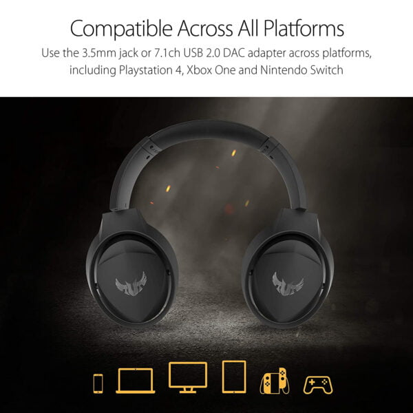 Asus TUF Gaming H5 with on-Board 7.1 Virtual Surround and Durable Stainless- Steel Headband Design for Excellent PC and PS4 Gaming Experiences.-10001