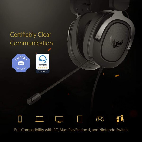 ASUS TUF H3 Gaming Headset H3 – Discord, TeamSpeak Certified |7.1 Surround Sound | Gaming Headphones with Boom Microphone for PC, Playstation 4, Nintendo Switch, Xbox One, Mobile Devices-9990